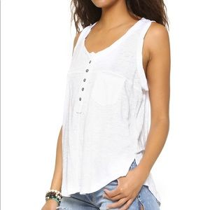 Free People White Oversized Henley Tank
